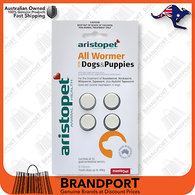 AristoPet All Wormer 4PK for Dogs Pups roundworm hookworm whipworm tapeworm