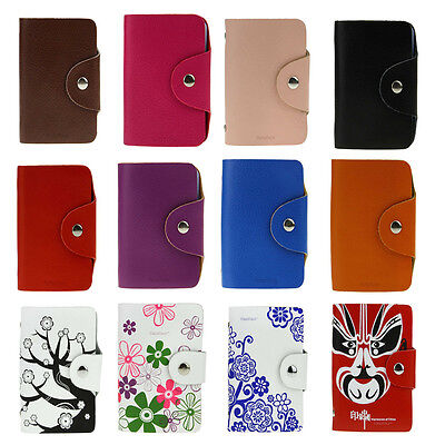 New Leather Office 40 Business ID Credit Card Holder Booklet Wallet Pouch Folder