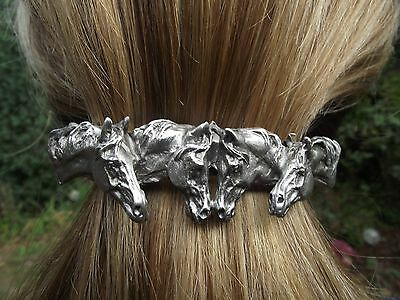 HORSE JEWELRY scarf clip barrette Pewter four horse heads From Artist!