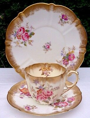 Victorian Aynslet Hand Painted Pink Roses Trio