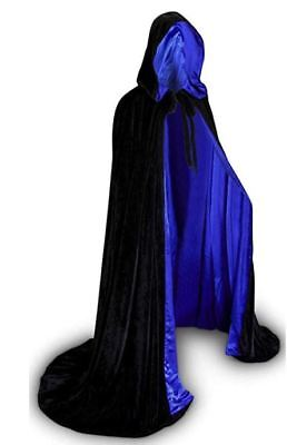 50 in Lined Black and Blue Velvet Cloak Cape Wedding Wicca LOTR