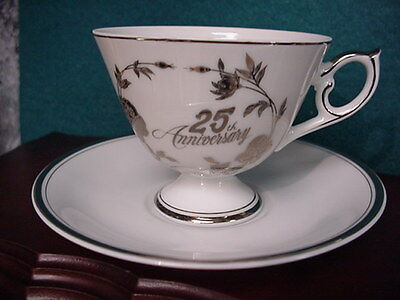 Norcrest *25th Anniversary*  White and Silver cup & saucer, Fine Porcelain