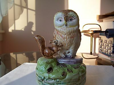Schmid Musical Owl and Squirrel Figurine