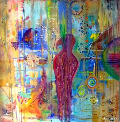 Artwork Acrylic on canvas  Karen Lee 'The Parrot and The finch'