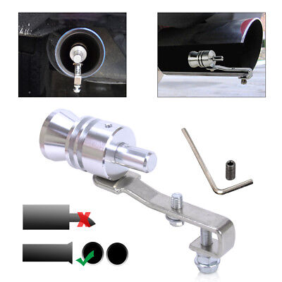 Turbo Sound Exhaust Pipe Whistle Muffler Auto Blow-off Valve Simulator L Silver