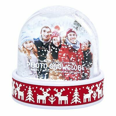Christmas Photo Snowglobe with glitter snowflakes and snow. Holds 1 or 2 photos