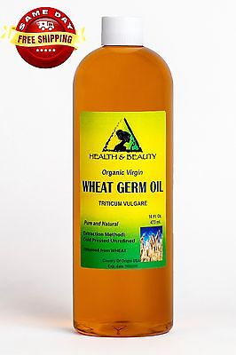 Wheat Germ Oil Unrefined Organic Carrier Cold Pressed Virgin Raw Pure 32 Oz