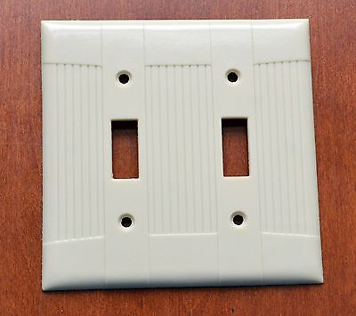 Vintage Bakelite EAGLE Ivory 2 Gang 2 Toggle Switch Plate New in Plastic/Screws