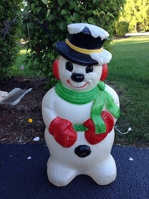 """Blow Mold Small Derby Snowman!  Christmas Outdoor Lighted!  31"""""""