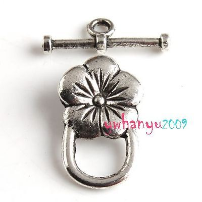 6pcs Alloy Flower Tibet Silver Tone Toggle Clasps FOR Jewelry Making