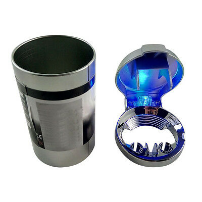Tinplate Car Auto Ashtray with Lid Cover and Blue LED Light