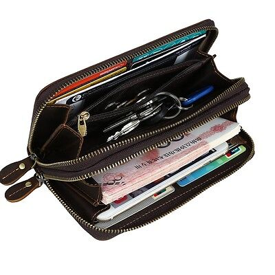 Mens Genuine Leather Large Wristlet Wallet Zip Around Clutch Purse iPhone Wallet