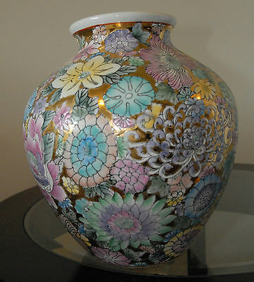 "ANDREA BY SADEK HAND PAINTED URN VASE FLORAL GOLD GILT 11"" H x 10"" W NO CHIPS"