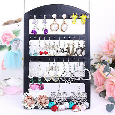 Black Plastic Display Rack Accessories Stand Organizer Holder 24Pairs Earring