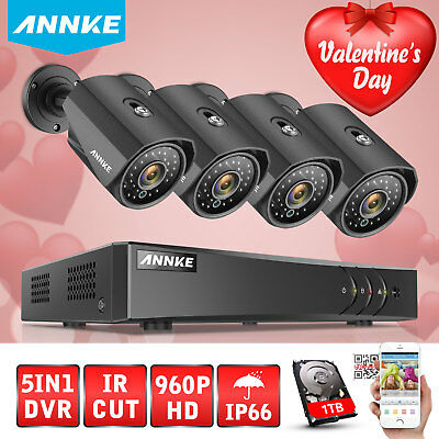 ANNKE 8CH HDMI 960P DVR 1800TVL Outdoor CCTV Video Security Camera System 1TB HD