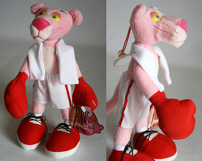 """VERY RARE 2000 PINK PANTHER BOXER 9"""" 24cm PLUSH DOLL W/ SUCTION CAP NEW UNUSED !"""