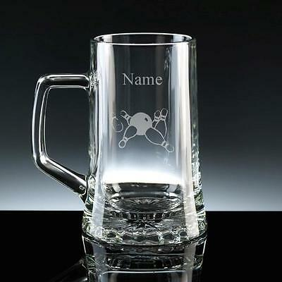 PERSONALISED ENGRAVED TEN PIN BOWLING STERN BEER GLASS TANKARD Birthday NEW