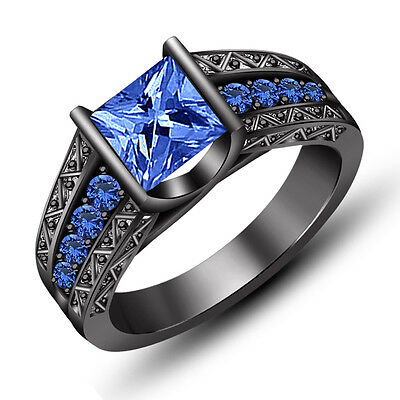 Black Gold Finish in 925 Silver Princess Cut Blue Sapphire Engagement Ring 5 6 7