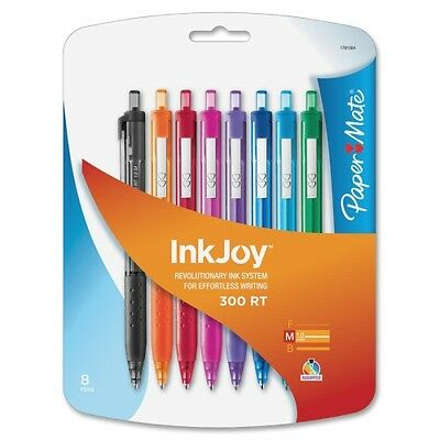 8 Paper Mate InkJoy 300RT RetractableMedium Pt. Ballpoint Pen, Assorted Colors