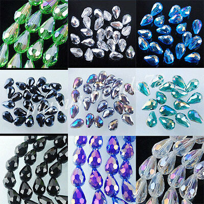 10x14mm Czech Crystal Faceted Drop Spacer Loose Beads Jewelry Findings MBA001