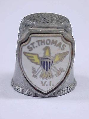 Sewing Thimble Vintage Pewter / Souvenir ST. THOMAS V.I. by FORT