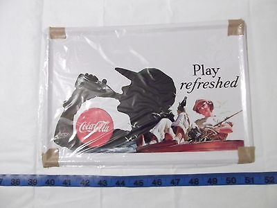 """Coca Cola Tin Sign Coke """"Play Refreshed"""" Metal 8"""" X 11 3/4"""" Picture Plaque"""