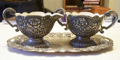 Silver Cream and Sugar Set with Tray - Rose Pattern