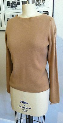 NWOT Daniel Bishop CASHMERE Tan Camel Brown Pullover Boat Neck SWEATER SMALL S