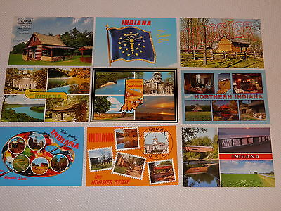 Lot of 9 Postcards of the Great State of Indiana, The Hoosier State, Flag etc.