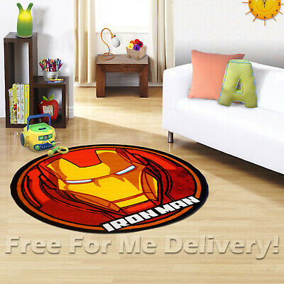 KIDS EXPRESS IRONMAN HELMET FUN FLOOR RUG (XS) 100x100cm **FREE DELIVERY**