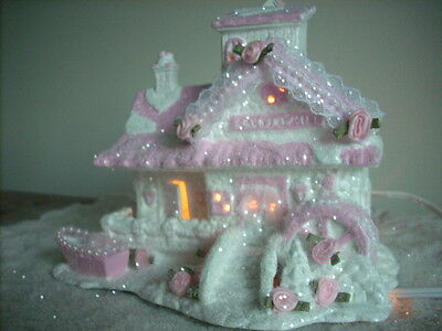 Shabby Pink Victorian Christmas Village ~House~ Lighted~Roses~