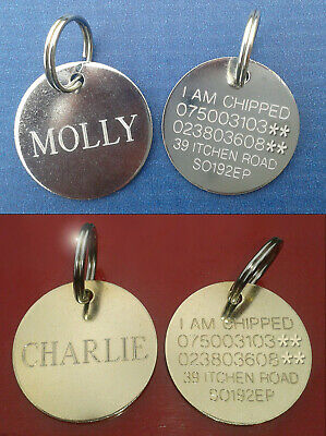 Engraved Pet Tags ID Disc Collar Tag Cat Dog Metal Brass Silver Nickel & Ring