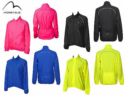 More Mile Womens Ladies Reflective Running Cycling Rain Wind Jacket Coat Top
