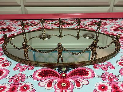 *DARLING!* VINTAGE GOLD PLATED FILIGREE VANITY TRAY, MIRROR W/ CHERUBS & CHAIN
