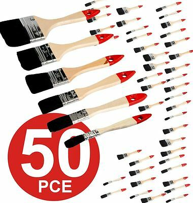 Set Of 50 Paint Brushes Brush Disposable With Pure Bristles & Wooden Handles