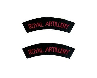 British Army ROYAL ARTILLERY Shoulder Titles - WW2 Repro Flashes Arm Patches