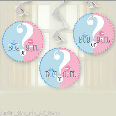 "GENDER REVEAL Unisex Boy Girl Pink & Blue Party 36"" HANGING SWIRL DECORATIONS x3"