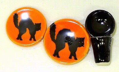 Handcrafted Ceramic Halloween Black Cat Place Setting Miniatures for Dollhouse