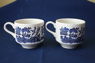 CHURCHILL~ENGLAND~BLUE WILLOW~ (2) TEA/COFFEE CUPS~EXCELLENT LN CONDITION!