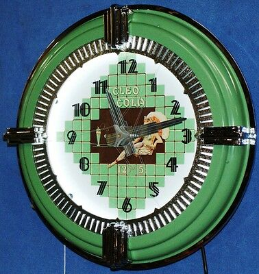 CLEO COLA NEON SPINNER CLOCK DECO , MADE IN AMERICA, GLUE CHIPPED GLASS