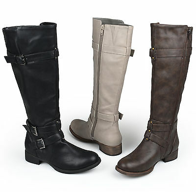 Journee Collection Womens Wide-Calf Knee-High Buckle Riding Boot