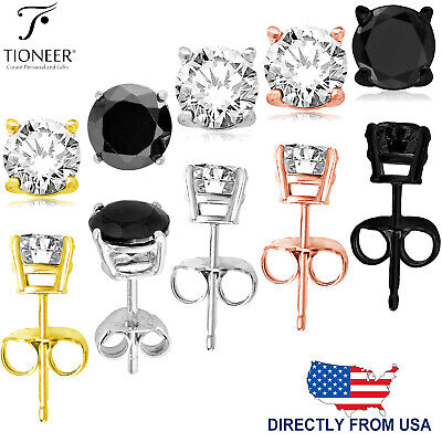 Sterling Silver 925 Rose Gold, Gold, Black, or Silver Round Cut CZ Stud Earrings