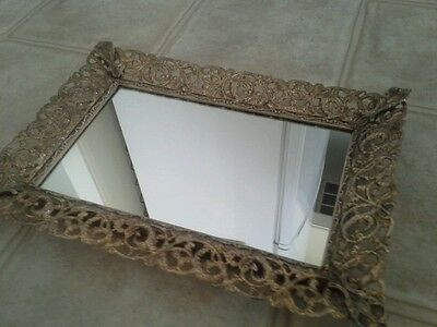 VTG MID CENTURY GOLD FILIGREE MIRRORED VANITY TRAY OR WALL MIRROR