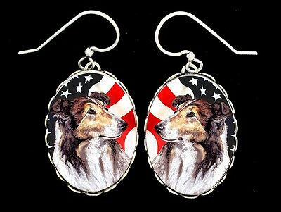 Collie American Flag Original Art Earrings