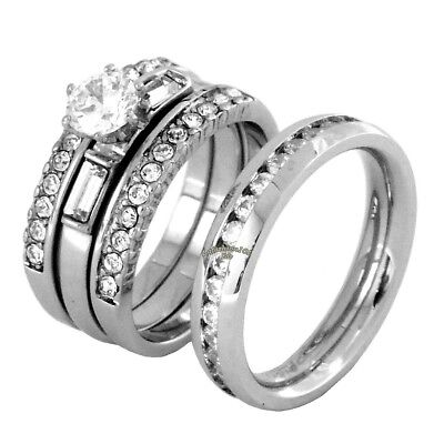His & Hers 4 PCS Womens Stainless Steel Wedding Set w/ Mens All Around CZ Band