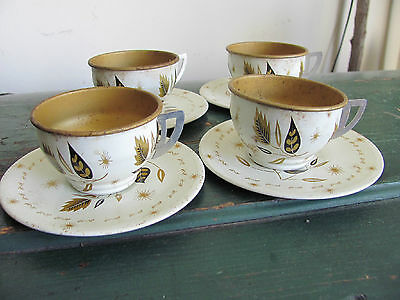 (4) Vintage Toy Tin/Metal Tea Cups and Saucers - Gold, Black, Cream Design