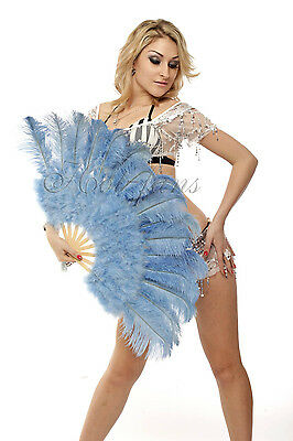 "21""x 39"" Baby Blue marabou  ostrich feather fan burlesque dance with gift box"