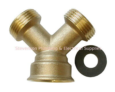 Brass Y Piece For Washing Machines, Dishwashers and Fridges | 2 Way Splitter