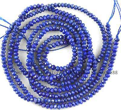 """AAA Cut 2x3mm Lapis Lazuli Rondelle Faceted Gemstone Beads 15"""""""