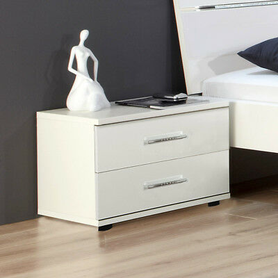 kommode nachttisch naco mit schublade weiss lack matt front hochglanz. Black Bedroom Furniture Sets. Home Design Ideas